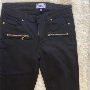 Paige Indigo Zip-Detail Skinny Jeans Black